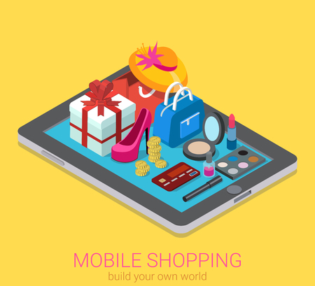 compras: isométrica creativa móviles infografía web de compras el concepto de consumo 3d plana. la moda accesorios de belleza ropa mercancías en la tableta grande. personas colección creativa.