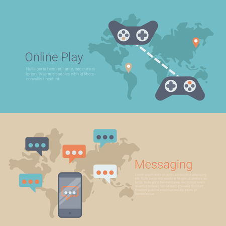 gamepads: Flat style website slider banner online gaming play messaging concept web infographics. World map connected gamepads, smartphone messages vector illustration. Illustration