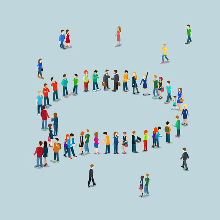 Flat 3d isometric style chat messaging web infographics vector illustration crowded square. Crowd group forming chatting cloud callout sign shape internet access point. Creative people collection.