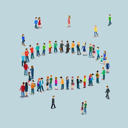 Platte 3d isometrische stijl chat berichten web infographics vector illustratie druk plein. Menigte groep vormen chatten wolk callout teken vorm internet toegangspunt. Creatieve mensencollectie. Stockfoto - 56931478
