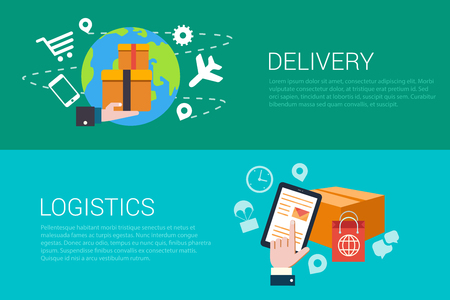 banners web: Flat style set of delivery logistics web infographics banners. Stylish internet store fast goods deliver and tablet hand touch parcel. Website info graphic collection. Illustration