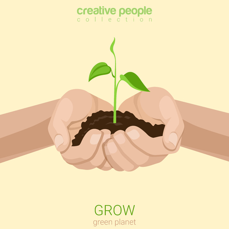 grow business: Flat style grow business concept web infographics vector illustration. Growing plant in hands handful soil. Creative people collection. Illustration
