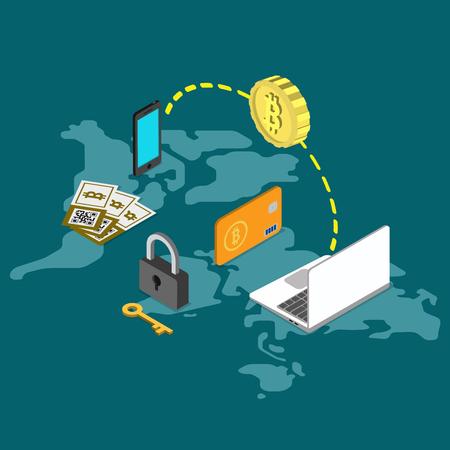 peer to peer: Bitcoin asegurar ilustración 3d plana de transferencia de dinero de pago en todo el mundo isométrico infografía concepto de web de vector. moneda de bits teléfono inteligente laptop bloqueo de transacción clave. personas colección creativa.