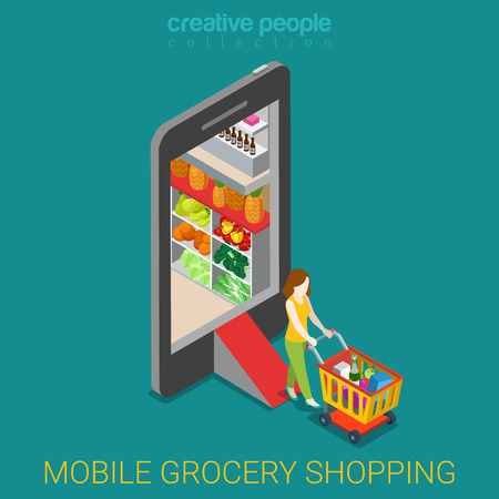 Mobile grocery shopping e-commerce online store flat 3d web isometric infographic concept vector electronic business sales. Woman wheeled cart walk from market shop inside smartphone.  イラスト・ベクター素材