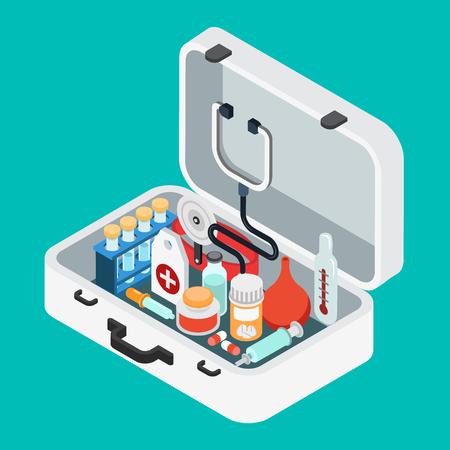 einlauf: Flache isometrische 3D-Arzt Fall Erste-Hilfe-Kit-Konzept Web-Infografik Vektor-Illustration. Stethoskop Licht Thermometer Klistier Einlauf Pille Pipette Salbe Spritze Kolben.