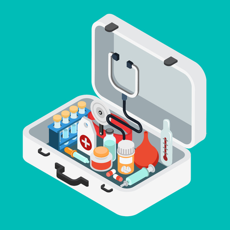 Flat 3d isometric doctor case first aid kit concept web infographics vector illustration. Stethoscope light thermometer clyster enema pill pipette salve syringe flask. Illustration