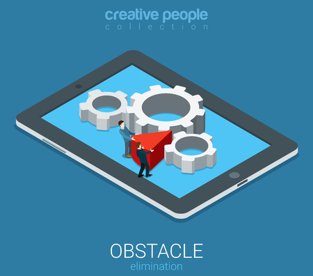 chock: Flat 3d isometry isometric technolofy business obstacle elimination concept web infographics vector illustration. Micro businessmen remove wedge chock cogwheel mechanism. Creative people collection. Illustration