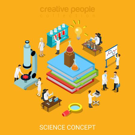 Ilustración 3D isométrica plana laboratorio de ciencias estilo concepto de conjunto de iconos de la infografía vector sitio web. Libros frasco tubo lupa microscopio micro científicos. Las personas creativas página web colección conceptual. Foto de archivo - 56931486