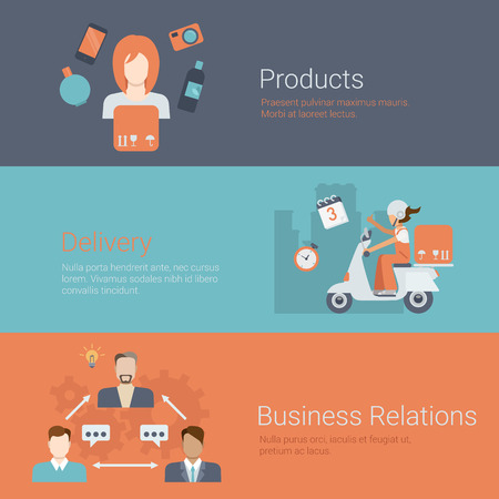 business products: Flat style website slider banner products delivery business relations partnership concept web infographics. Female avatar profile, bike box shipping, businessmen connections vector illustration. Illustration