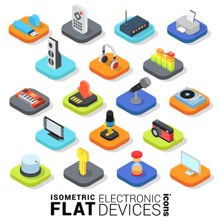 mmc: Flat 3d isometric trendy style electronic devices web mobile app infographics icon set. Website application collection. Illustration