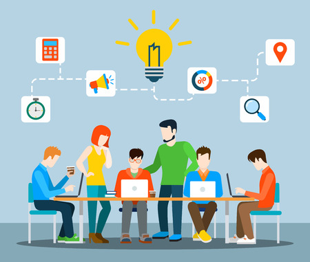 Flat style idea brainstorming creative team concept web infographics vector illustration. Creative people collection. Group of casual young male female working table icon connections. Ilustração