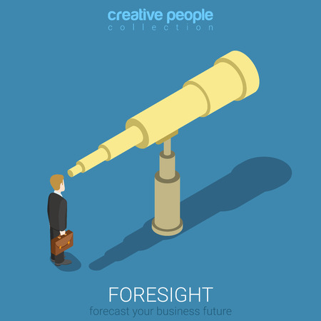 spyglass: Flat 3d isometric style foresight forecast look into future business concept web infographics vector illustration. Businessman looks into big spyglass. Creative people website conceptual collection.