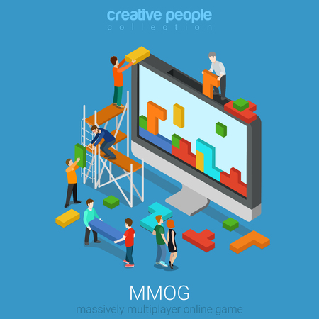 online game: Flat 3d isometry isometric MMOG massively multiplayer online game gaming concept web infographics vector illustration. Big computer micro people play bricks. Creative people collection.