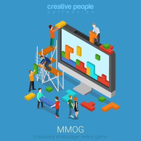 cooperativismo: Piso 3d isométrico juego MMOG juego multijugador masivo ilustración infografía concepto de web de vector en línea. la gente micro computadora grande juegan ladrillos. personas colección creativa.