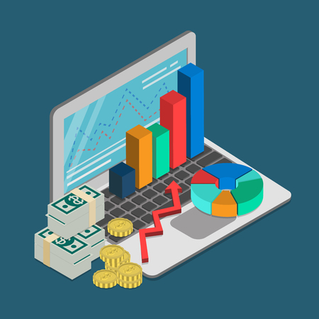Flat 3d isometrische finance zakelijke lening hypothecair krediet accounting boekhouding rapportage begrip web infographics vector illustratie. Laptop grafische geld munt dollar biljet. Stock Illustratie