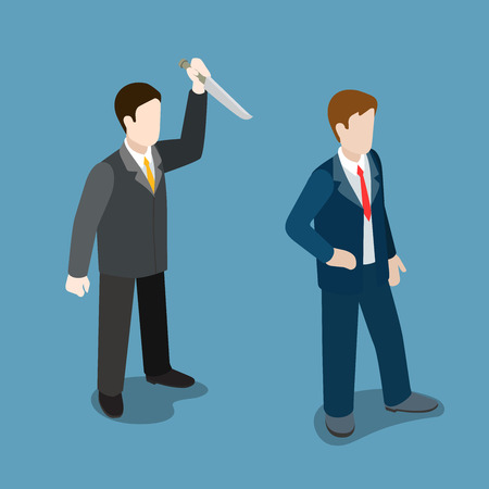 Flat 3d isometric business trick betray meanness situation concept web infographics vector illustration. Businessman attacks knife from back. Creative people collection.