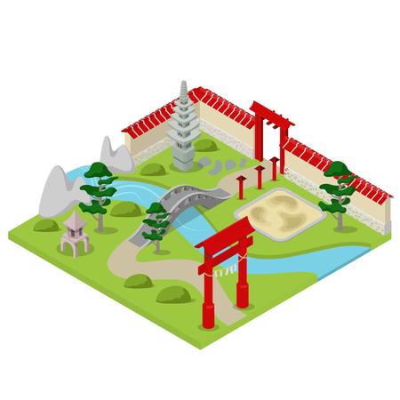 japanese garden: Flat 3d isometric Japanese garden city building block concept web infographics vector illustration. Bonsai stone river bridge gate.