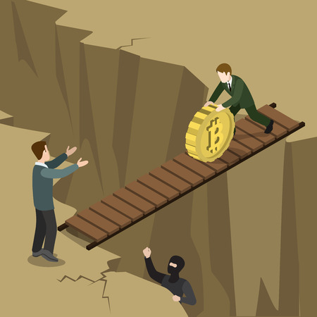 crypto: Flat 3d isometry isometric bitcoin crypto currency security payment process concept web infographics vector illustration. Man rolling bit coin down bridge over abyss. Creative people collection.