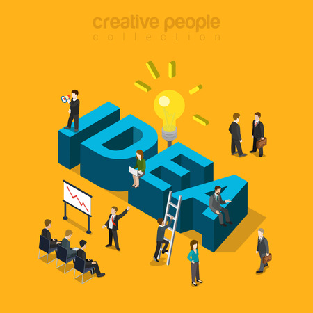 Flat 3d isometric style idea concept web infographics vector illustration. Businessmen meeting report and big idea word. Creative people collection. Illustration