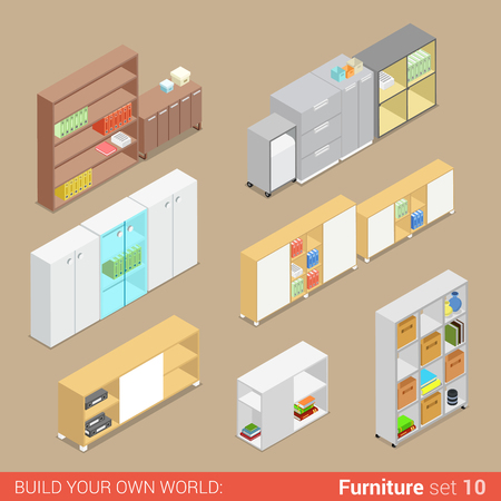 isometry: Office furniture set 10 cupboard folder shelf storage closet cabinet chest locker element flat 3d isometry isometric concept web infographics vector illustration. Creative interior objects collection.