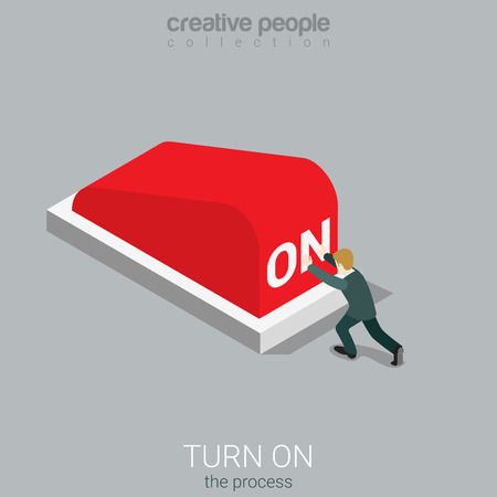 metaphoric: Flat 3d isometry isometric turn on the process concept web infographics vector illustration. Micro businessman pressing big red ON button. Creative people collection.