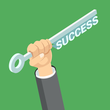 Flat 3d isometric key to success in business concept web infographics vector illustration. Big male hand hold key with success word. Creative people collection. Ilustração
