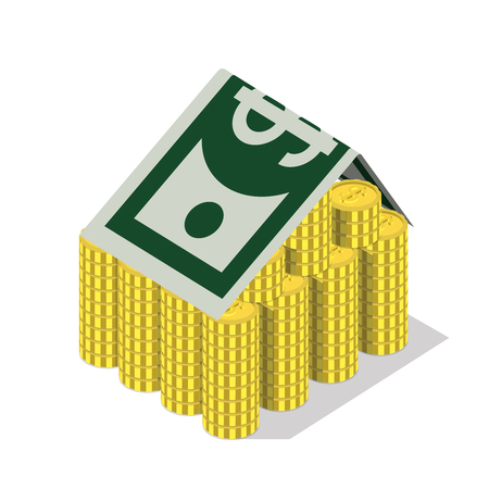 metaphoric: Flat 3d isometric bank building money concept web infographics vector illustration. Coin stacks and dollar banknote as roof banking finance financial conceptual website banner image.