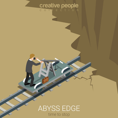 time drive: Flat 3d isometric style abyss edge time to stop business concept web infographics vector illustration. Businessman drive railway handcar trolley to gulf chasm earth fault. Creative people collection. Illustration