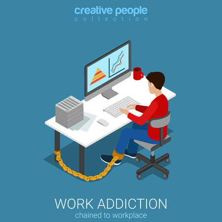 metaphoric: Flat 3d isometric style work addiction business concept web infographics vector illustration. Man worker chained to table working with computer. Creative people collection.