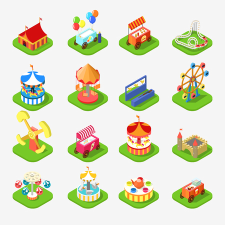 metaphoric: Flat 3d isometric carousel attraction amusement leisure entertainment park icon set concept web app mobile infographics vector. Ice cream station aim shot popcorn roller coaster circus castle.