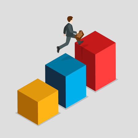 metaphoric: Flat 3d isometric report indicator rush business statistics concept web infographics vector illustration. Businessman run up bar graphic. Creative people collection.