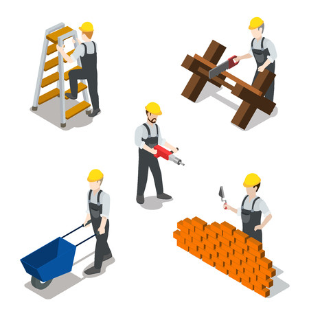metaphoric: Flat 3d isometric builder construction worker icon set concept web infographics vector illustration. Carpenter mason driller electrician swamper. Creative people collection.