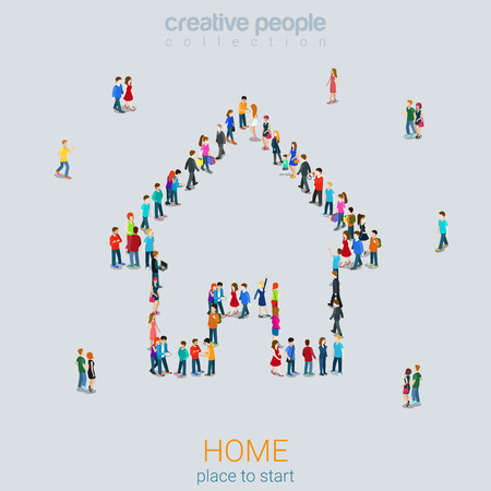isometry: Home sign shape casual micro people crowd flat 3d web isometric infographic concept vector. Creative people collection.