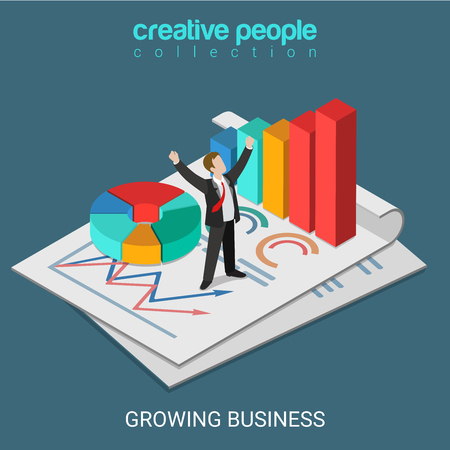 Flat 3d isometric growing business concept web infographics vector illustration. Successful micro businessman standing on big report document pie chart bar graphic. Creative people collection. Иллюстрация