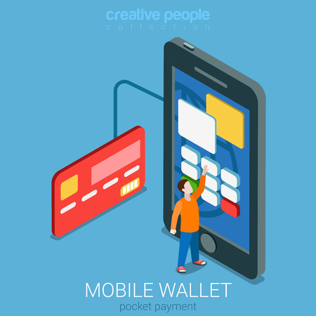 Flat 3d isometry isometric mobile wallet payment transaction processing concept web infographics vector illustration. Micro casual man entering PIN code on big smartphone. Creative people collection.