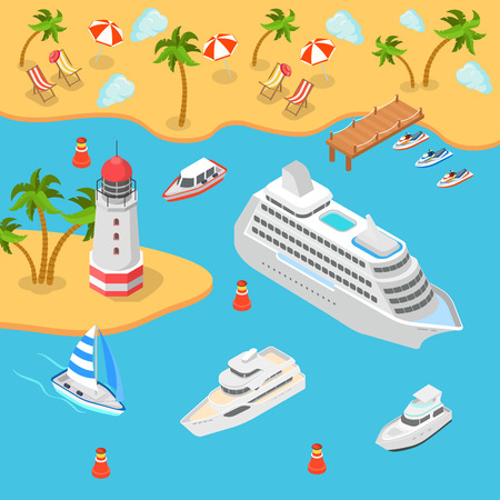 liner transportation: Flat 3d isometric nautical transport sea shore tropical beach lighthouse cruise passenger liner boat yacht concept web infographics vector. Container ship barge loading crane marine transportation.