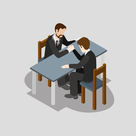 wrestling: Flat 3d isometric business competition arm wrestling concept web infographics vector illustration. Creative people collection. Illustration