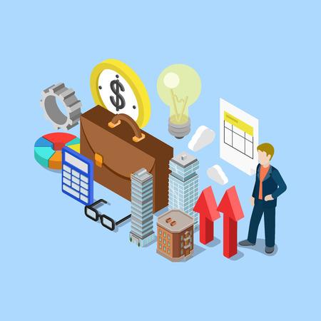 contabilidad: concepto de contabilidad financiera isométrica de bienes raíces raíces contabilidad de negocio ilustración vectorial infografía web 3d plana. Maletín calculadora lámpara hombre rascacielos micro dentada. personas colección creativa.