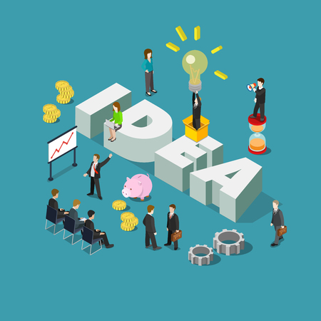 Flat 3d isometric style idea concept web infographics vector illustration. Businessmen meeting report and big idea word. Creative people collection.