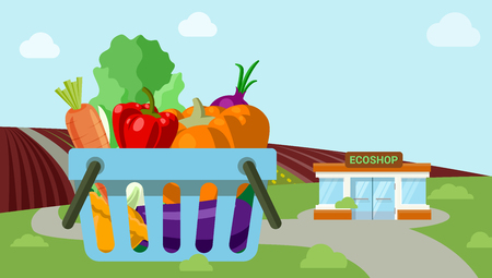 roadside: Flat style agriculture vegetable fresh field organic countryside roadside market ecoshop web icons. Pumpkin carrot salad onion cart countryside vector illustration. Website infographics collection.
