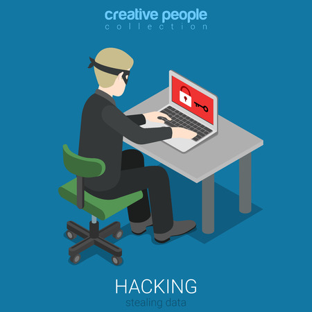 Flat 3d isometric style hacker attack intruding laptop computer internet web system crack password security concept web infographics vector illustration. Creative people website conceptual collection.