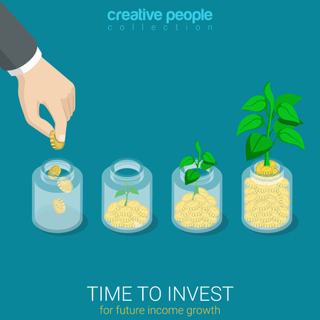 grow business: Flat 3d isometric style time to invest grow business start up concept web infographics vector illustration. Big hand throw coin into jar growing sprout. Creative people website conceptual collection. Illustration
