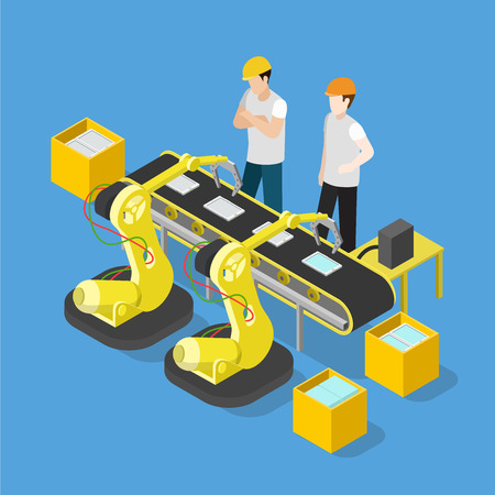 factory workers: Flat 3d isometric smartphone tablet electronics industry production factory conveyor concept web infographics vector illustration. Workers touch screen assembly mechanism. Creative people collection. Illustration