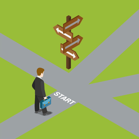 dilemma: Flat 3d isometric crossroads choose your way choice dilemma business concept web infographics vector illustration. Businessman on start before crossroad. Creative people collection.