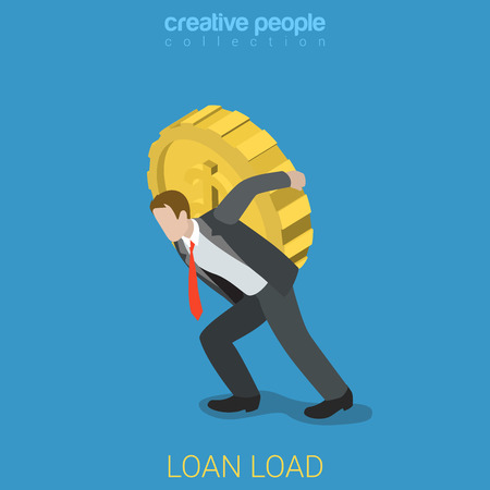 burden: Flat 3d isometric style loan load burden financial business concept web infographics vector illustration. Businessman carry big coin. Creative people website conceptual collection.