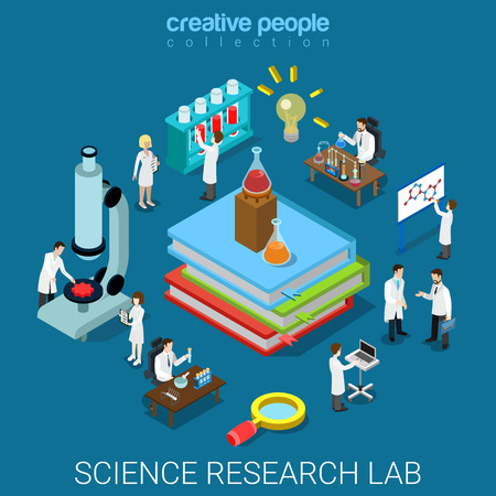 Flat 3d isometric style science chemical pharmaceutical research lab concept web infographics vector illustration. Big books flask tube and scientists. Creative people website conceptual collection.