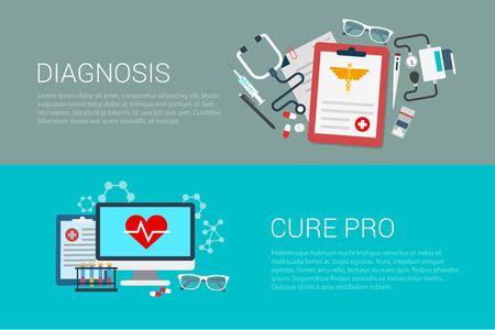 blood pressure monitor: Flat style set of medicine medical lab diagnosis cure pro web infographics banners. Prescription stethoscope blood pressure monitor syringe computer lab diagnostics.Website info graphic collection.