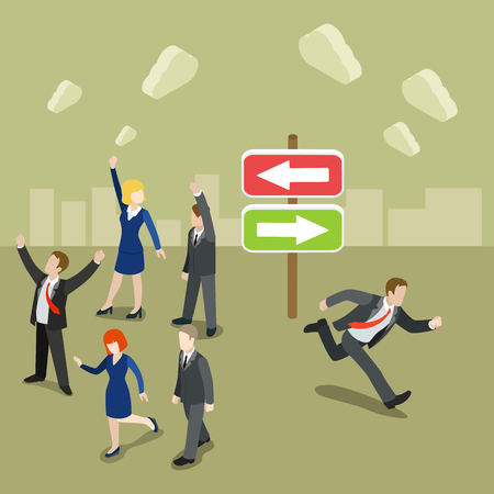 metaphoric: Flat 3d isometric choose your way route concept web infographics vector illustration. Group dancing on the left businessman running out on the right. Creative people collection.