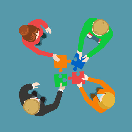 Business team solution in partnership teamwork concept flat 3d web infographic vector. Top view four businessmen pushing pieces of puzzle. Creative people collection. Illustration