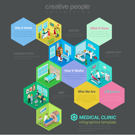 Flat 3d isometric medical clinic hospital ward interior cells concept web infographics vector illustration. Checkup room lab MRI diagnostics therapist dentist surgeon traumatologist reception. Creative people collection.